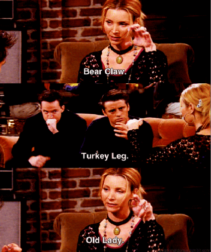 Friends Phoebe Buffay guitar bear claw, turkey leg and old lady