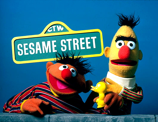 Bert & Ernie with Sesame Street Sign