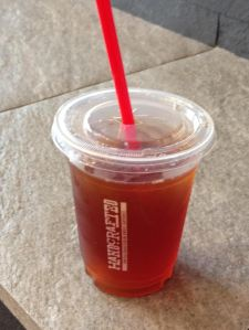 Iced tea to go with red straw