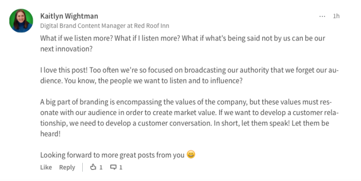 Kaitlyn Wightman LinkedIn Response